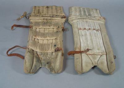 Pair of junior wicket keeping pads, c1940s