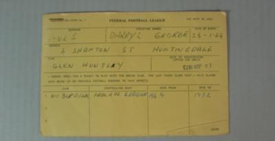Federal Football League Player Registration Form for Glen Huntly Football Club