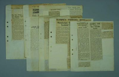 Scrapbook pages containing material related to life and career of Frank Beaurepaire