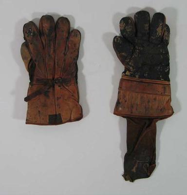 Pair of junior wicket keeping gloves, c1940s
