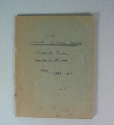 Federal District League Attendance Book, 1962-1964