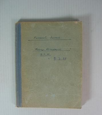 Federal Football League Meeting Attendance Book, 1964-1968