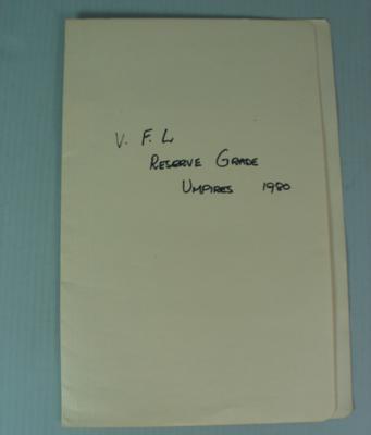 Victorian Football League Reserve Grade Umpires Documents, 1980