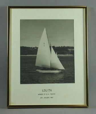 "Black & white photograph of yacht ""Lolita"", January 1949"