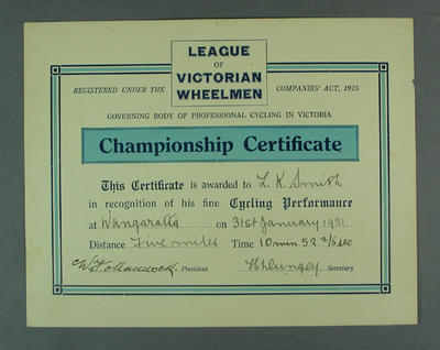 Certificate awarded to LK Smith for 5 Mile Race at Wangaratta, 1931