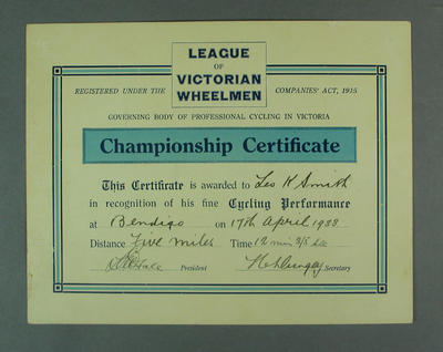 Certificate awarded to LK Smith for 5 Mile Race at Bendigo, 1933