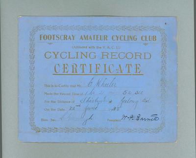 Certificate, Footscray Amateur Cycling Club 30 Mile Race 22 June 1935; Documents and books; 1988.1981.25