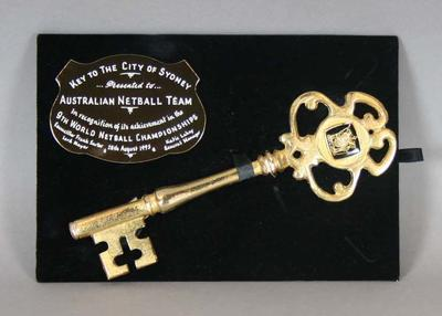Key to the city of Sydney presented to the Australian netball team, 1995; Civic mementoes; N2014.38.2
