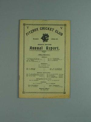 Annual report, Fitzroy Cricket Club - season 1944/45