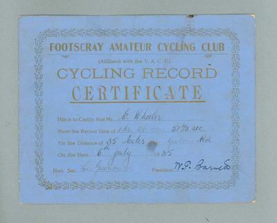 Certificate, Footscray Amateur Cycling Club 35 Mile Race 6 July 1935