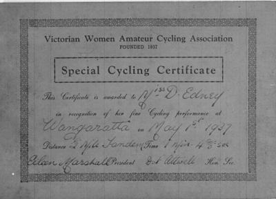 Copy negative of certificate, Half Mile Tandem Race 1937 Wangaratta; Documents and books; 1988.2003.2