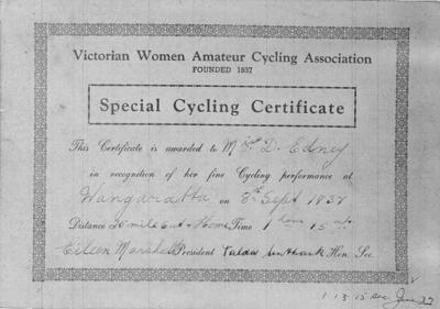 Copy negative of certificate, 25 Mile 1937 Wangaratta; Documents and books; 1988.2003.3