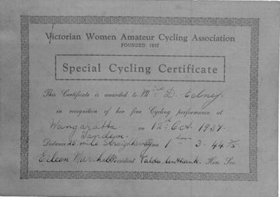 Copy negative of certificate, Tandem Straightaway 1937 Wangaratta; Documents and books; 1988.2003.4