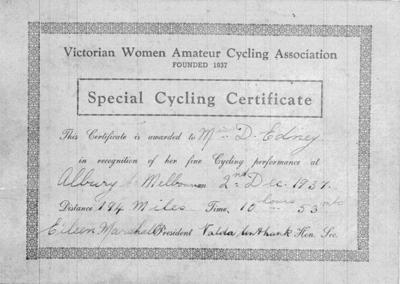 Copy negative of certificate, Albury-Melbourne bicycle ride 1937