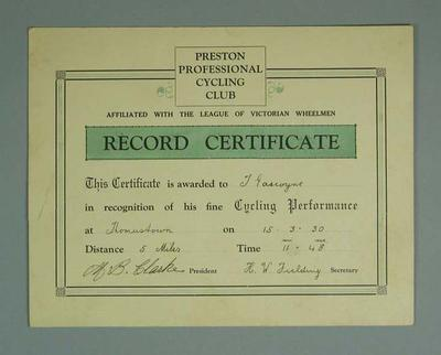Certificate, Preston Professional Cycling Club Thomastown 5 Mile Race 1930