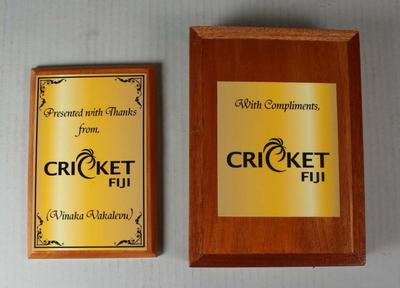 Cricket Fiji plaque presented to the Melbourne Cricket Club, 2013