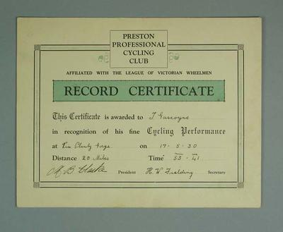 Certificate, Preston Professional Cycling Club Plenty Gorge 20 Mile Race 1930