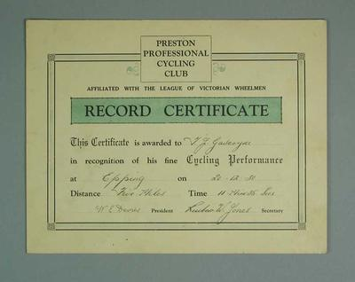 Certificate, Preston Professional Cycling Club Epping 5 Mile Race 1930