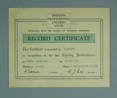 Certificate, Preston Professional Cycling Club Preston 27 Mile Race 1936