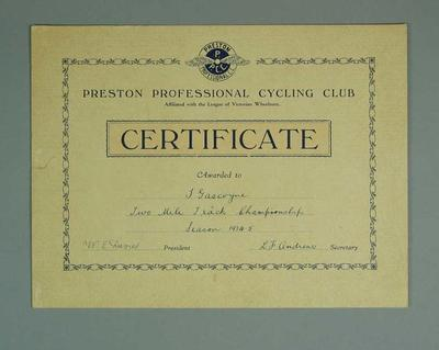 Certificate, Preston Professional Cycling Club Two Mile Track Championship 1934-35