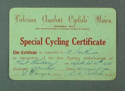 VACU Special Cycling Certificate, West Footscray 25 Mile Race 1923