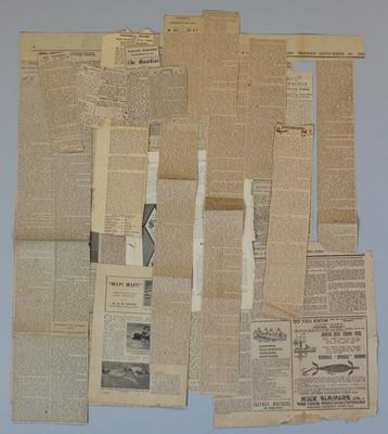 Newspaper clippings relating to life & career of Frank Beaurepaire, dated 1911