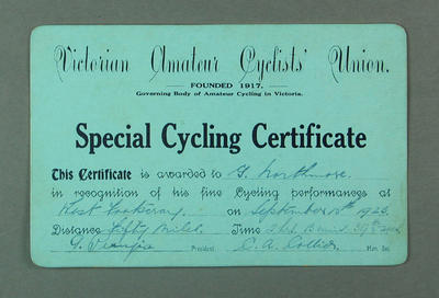 VACU Special Cycling Certificate, West Footscray 50 Mile Race 1923