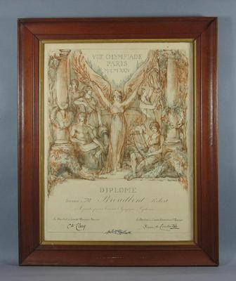1924 Olympic Games, Paris, framed Diploma presented to Robert Broadbent, Cyclist, Olympic Cycling Tournament