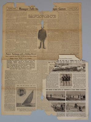Newspaper clippings relating to life & career of Frank Beaurepaire, dated 1920