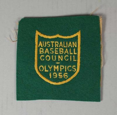 Australian Baseball Council Olympic pocket patch presented to Ken Morrison, Melbourne Olympic Games, 1956