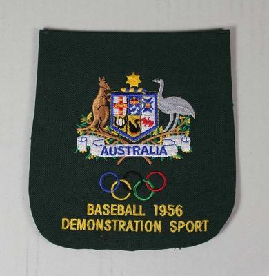 Australian Olympic Demonstration Sport blazer pocket presented to Ken Morrison, Melbourne Olympic Games, 1956
