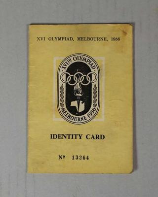 Identity card used by Ken Morrison, Melbourne Olympic Games, 1956