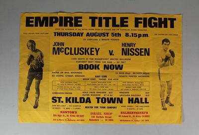 Empire Title Fight poster, John McCluskey v Henry Nissen, 1971