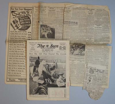 Newspaper clippings relating to life & career of Frank Beaurepaire, dated 1930