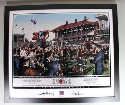Limited edition commemorative print of the Melbourne Football Club premiership side, 1964