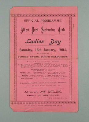 Programme for Albert Park Swimming Club, Ladies Day at Stubbs Baths 1904