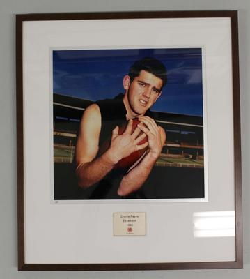 Framed reproduction photograph of Charlie Payne, Essendon F.C. from Scanlens 1966 Flag Series football cards