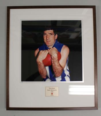 Framed reproduction photograph of Tom Allison, North Melbourne F.C. from Scanlens 1966 Flag Series football cards