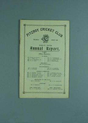 Annual report, Fitzroy Cricket Club - season 1947/48