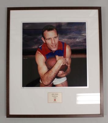 Framed reproduction photograph of John Jillard, Footscray F.C. from Scanlens 1966 Flag Series football cards