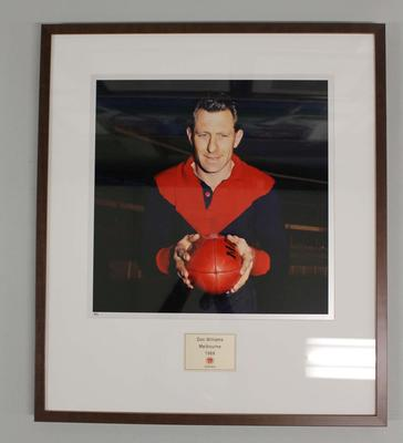 Framed reproduction photograph of Don Williams, Melbourne F.C. from Scanlens 1966 Flag Series football cards