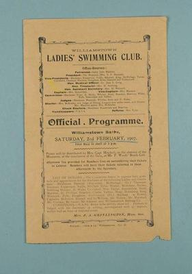 Programme for Williamstown Ladies Swimming Club gala day, 2 February 1904