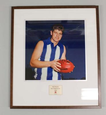 Framed reproduction photograph of Bob Pascoe, North Melbourne F.C. from Scanlens 1966 Flag Series football cards