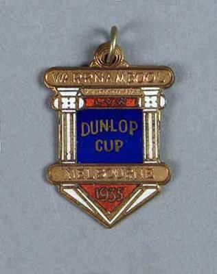 Medal won by W. Maddock - Dunlop Cup Warrnambool-Melbourne 1935
