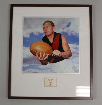 Framed reproduction photograph of Barry Cable, Perth F.C. from Scanlens 1966 Flag Series football cards; Photography; 2007.143.21