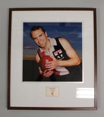 Framed reproduction photograph of  Ross Smith, St. Kilda  F.C. from Scanlens 1966 Flag Series football cards