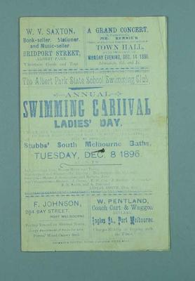 Programme for Albert Park State School Swimming Club's Annual Swimming Carnival, 8 December 1896