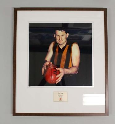 Framed reproduction photograph of Phil Hay, Hawthorn  F.C. from Scanlens 1966 Flag Series football cards
