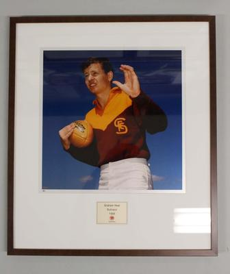 Framed reproduction photograph of Graham Heal, Subiaco F.C. from Scanlens 1966 Flag Series football cards