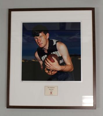 Framed reproduction photograph of Ken Newland, Geelong F.C. from Scanlens 1966 Flag Series football cards